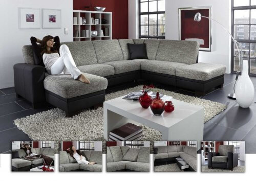 gem tliche eckgarnitur mit xxl hocker 102 m bel punkt. Black Bedroom Furniture Sets. Home Design Ideas